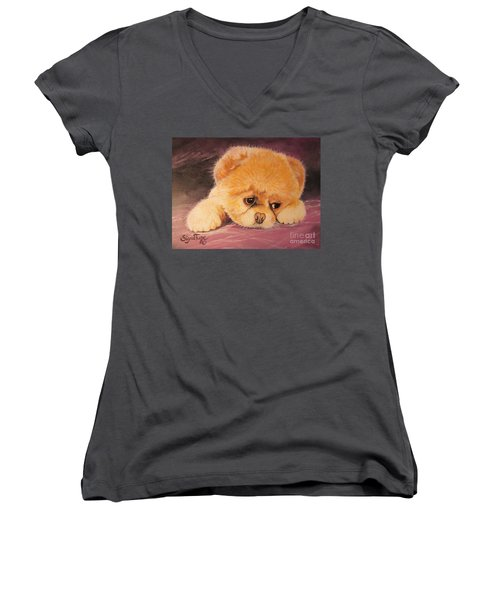 Flying Lamb Productions     Koty The Puppy Women's V-Neck (Athletic Fit)