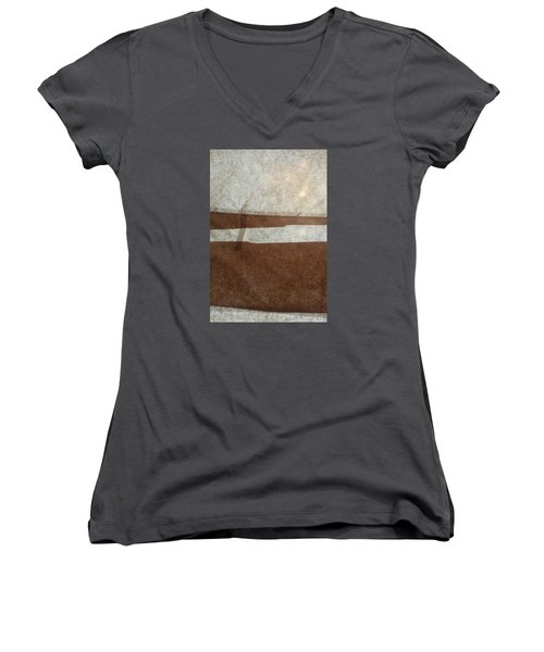 Kraft Paper And Screen Seascape Women's V-Neck (Athletic Fit)