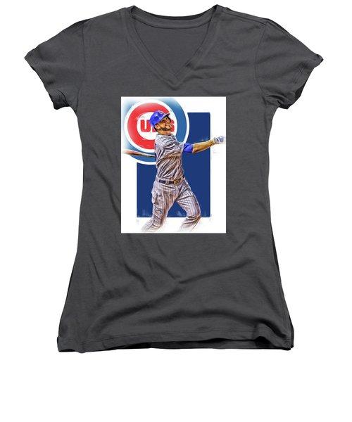 Kris Bryant Chicago Cubs Oil Art Women's V-Neck (Athletic Fit)