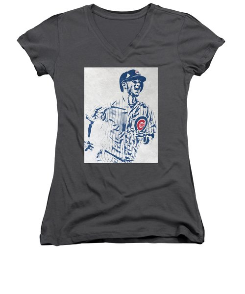 kris bryant CHICAGO CUBS PIXEL ART 2 Women's V-Neck (Athletic Fit)