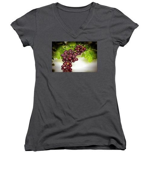 Krissy Gold Grapes Women's V-Neck T-Shirt (Junior Cut) by David French