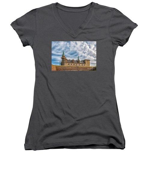 Women's V-Neck T-Shirt (Junior Cut) featuring the photograph Kronborg Castle In Denmark by Antony McAulay