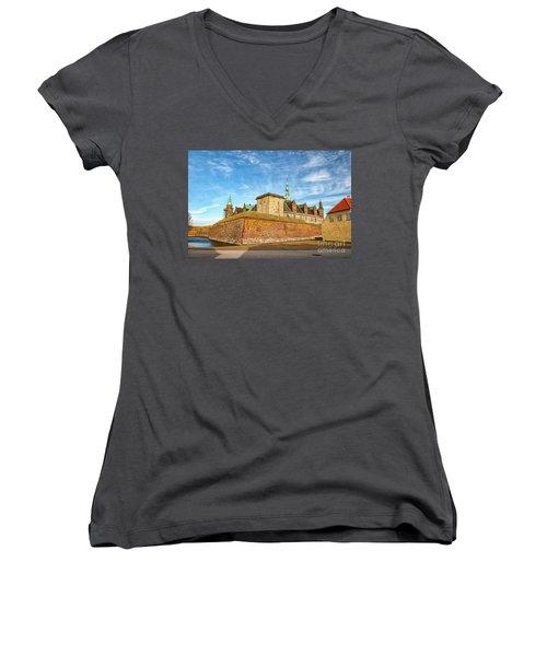 Women's V-Neck T-Shirt (Junior Cut) featuring the photograph Kronborgsslott In Helsingor by Antony McAulay