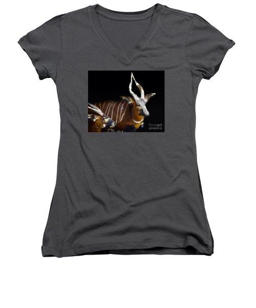 Kudo Resting Women's V-Neck T-Shirt (Junior Cut) by Melissa Messick