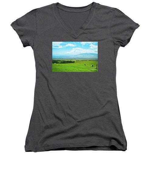 Kula Upcountry Maui Hawaii Women's V-Neck T-Shirt (Junior Cut) by Sharon Mau