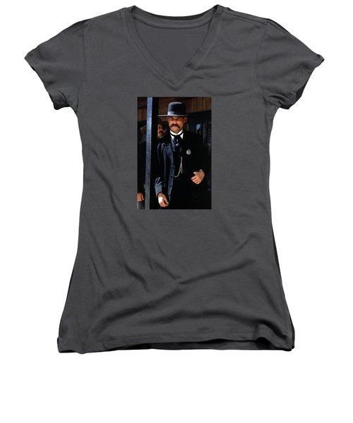 Kurt Russell As Wyatt Earp Tombstone Arizona 1993-2015 Women's V-Neck T-Shirt (Junior Cut) by David Lee Guss