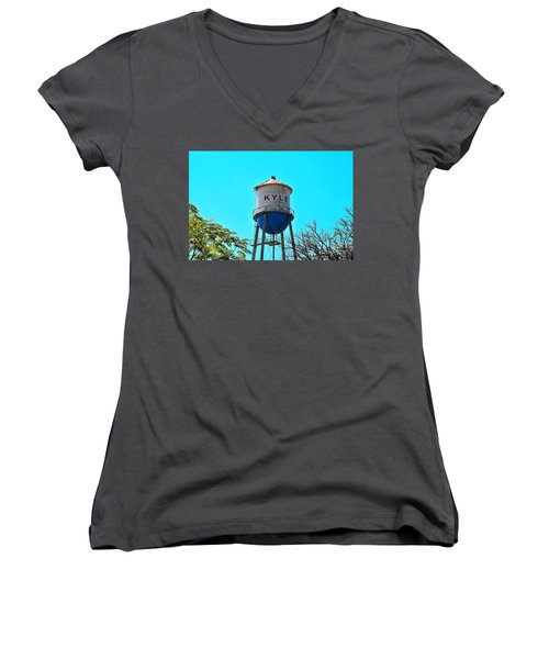 Kyle Texas Water Tower Women's V-Neck T-Shirt (Junior Cut) by Ray Shrewsberry