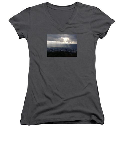 Kyoto Skyline Women's V-Neck T-Shirt (Junior Cut) by Pete Hall