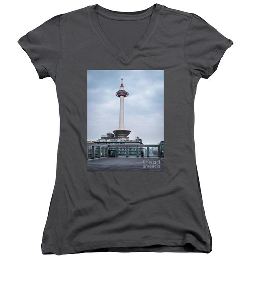 Kyoto Tower, Japan Women's V-Neck (Athletic Fit)