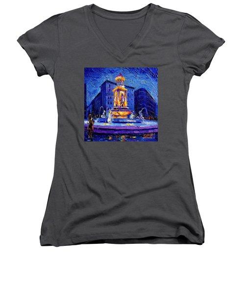 La Fontaine Des Jacobins Women's V-Neck T-Shirt