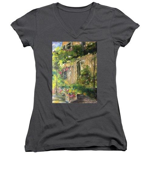 La Maison Est O Le Coeur Est Home Is Where The Heart I Women's V-Neck T-Shirt (Junior Cut) by Robin Miller-Bookhout