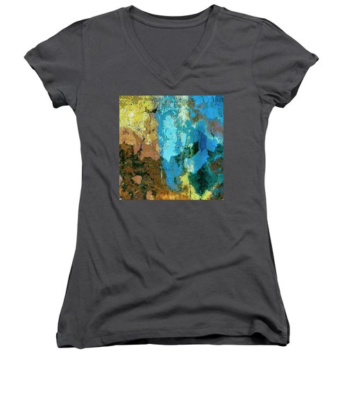 Women's V-Neck T-Shirt (Junior Cut) featuring the painting La Playa by Dominic Piperata