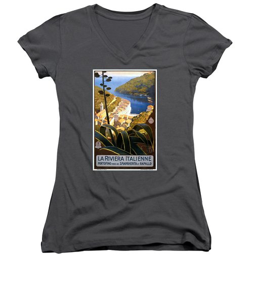 La Riviera Italienne, Travel Poster For Enit, Ca. 1920 Women's V-Neck (Athletic Fit)