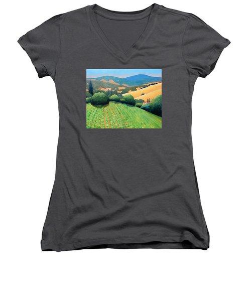 La Rusticana Revisited Women's V-Neck T-Shirt (Junior Cut) by Gary Coleman