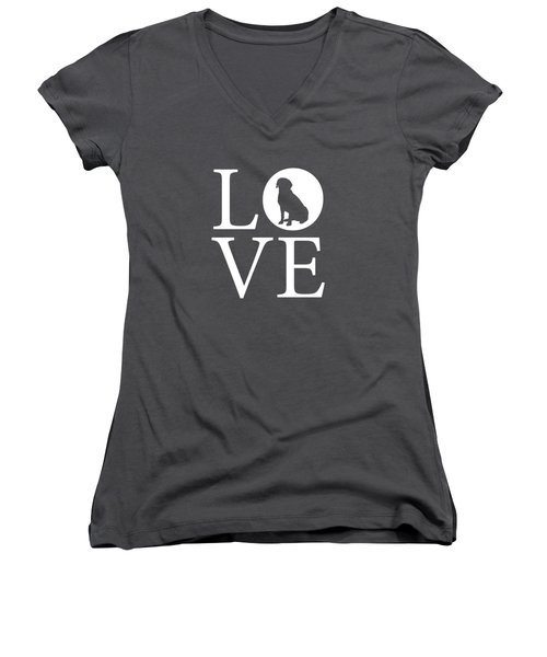 Labrador Love Red Women's V-Neck (Athletic Fit)