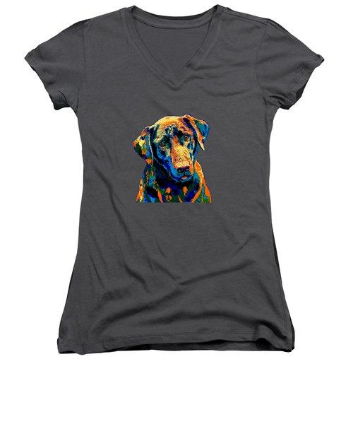 Labrador Retriever Of Many Colors Iv Women's V-Neck (Athletic Fit)