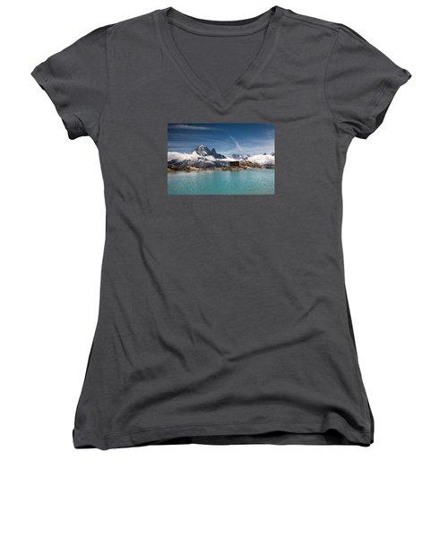 Lac Blanc Women's V-Neck T-Shirt (Junior Cut) by Aivar Mikko
