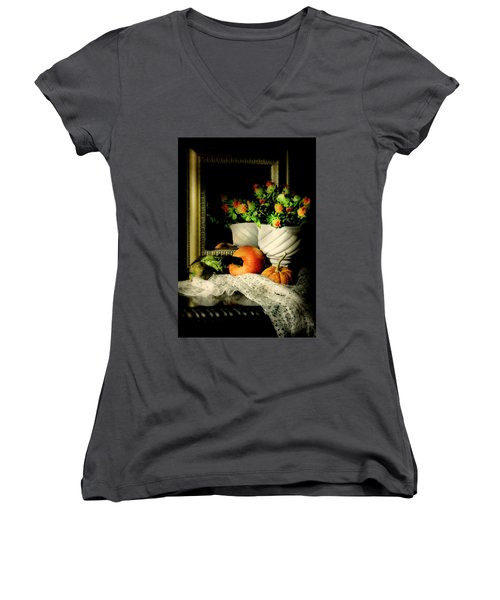 Lace And Mirror Women's V-Neck T-Shirt (Junior Cut) by Diana Angstadt