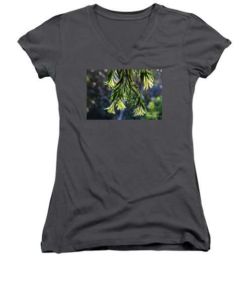 Lacey Leaves Women's V-Neck (Athletic Fit)