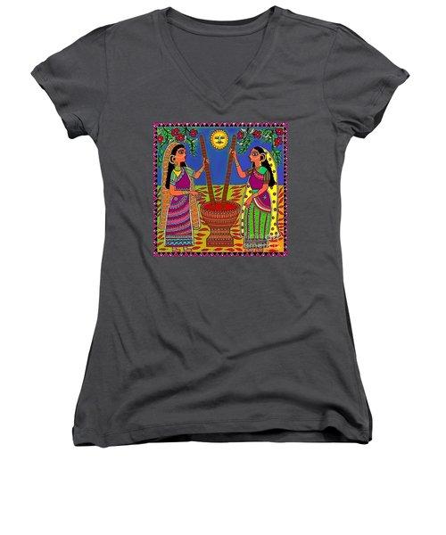 Ladies Crushing Chili Peppers Women's V-Neck T-Shirt
