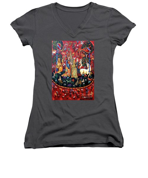 Women's V-Neck T-Shirt (Junior Cut) featuring the painting Lady And The Unicorn Sound by Genevieve Esson