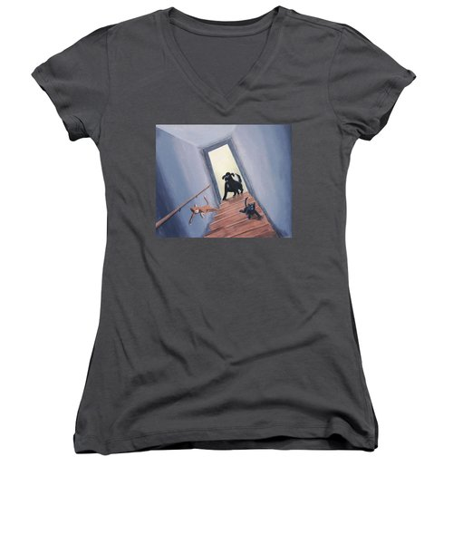 Lady Chases The Cats Down The Stairs Women's V-Neck (Athletic Fit)