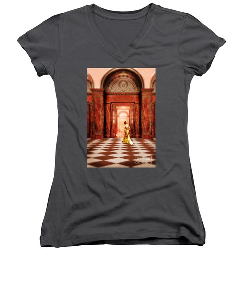 Lady In Golden Gown Walking Through Doorway Women's V-Neck T-Shirt