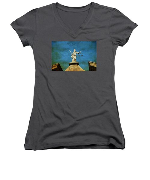 Lady Justice. Streets Of Dublin. Painting Collection Women's V-Neck