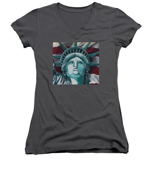 Lady Liberty Women's V-Neck (Athletic Fit)