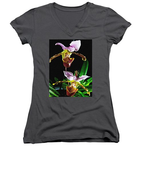 Women's V-Neck T-Shirt featuring the photograph Lady Slipper Orchid by Elf Evans
