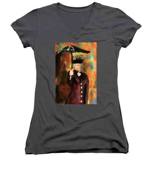 Lady With Umbrella Women's V-Neck (Athletic Fit)