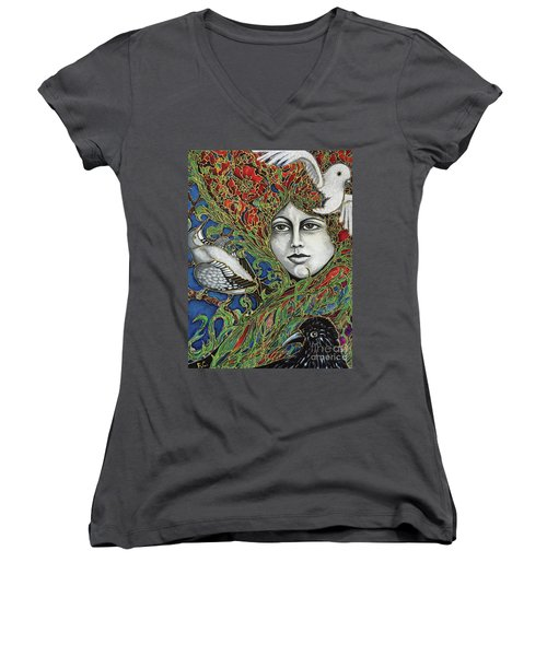 Women's V-Neck T-Shirt (Junior Cut) featuring the painting Ladybird by Rae Chichilnitsky