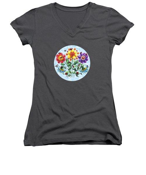 Ladybug Playground On A Summer Day Women's V-Neck T-Shirt