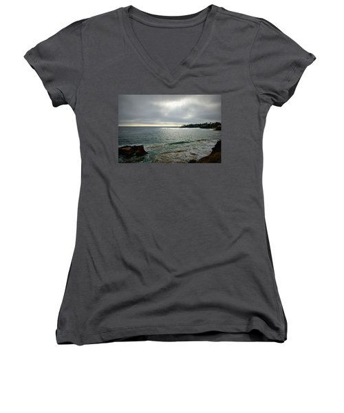 Women's V-Neck T-Shirt (Junior Cut) featuring the photograph Laguna Beach Sunset by Glenn McCarthy Art and Photography