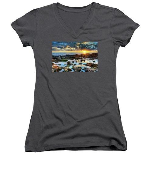 Laguna Beach Tidepools Women's V-Neck T-Shirt (Junior Cut) by Eddie Yerkish