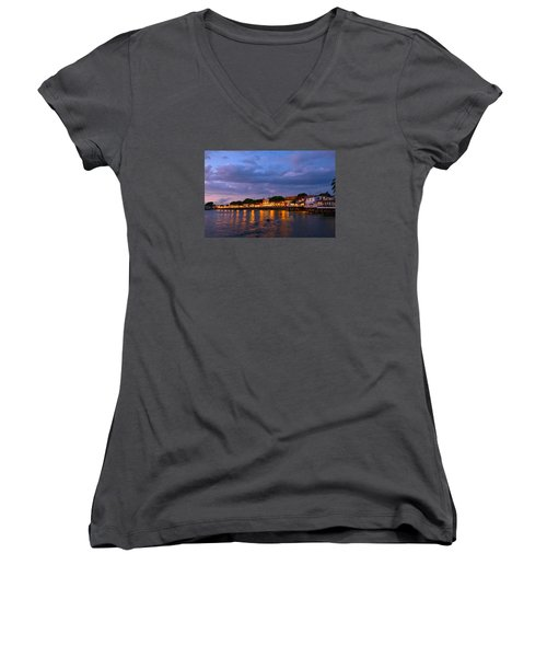 Lahaina Roadstead Women's V-Neck T-Shirt (Junior Cut) by James Roemmling