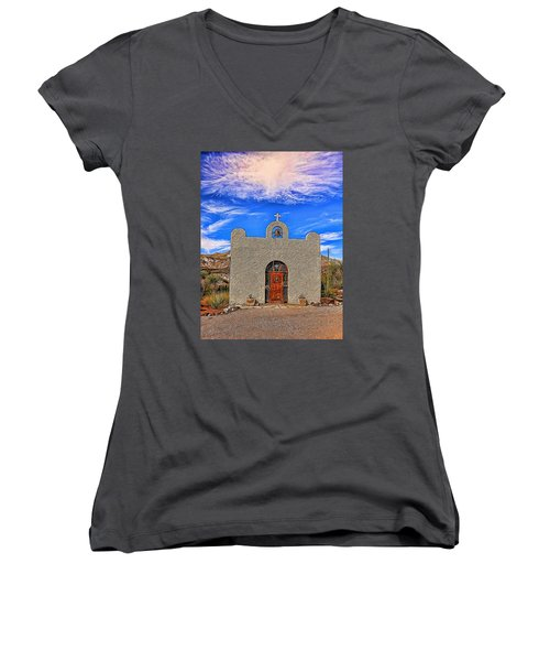 Lajitas Chapel Painted Women's V-Neck T-Shirt