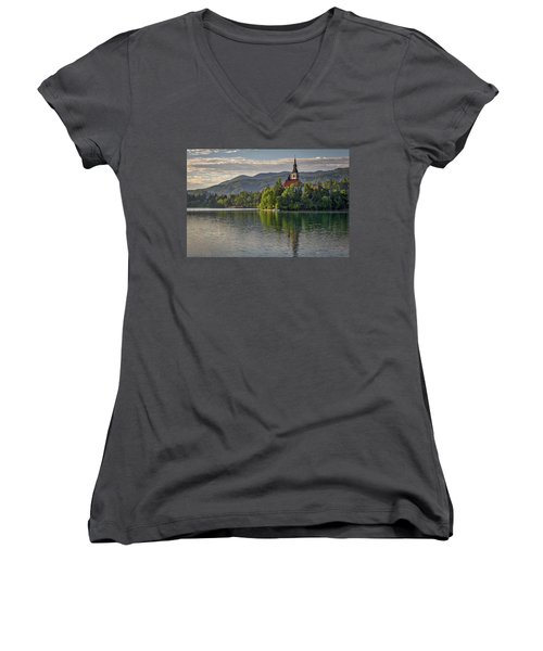Women's V-Neck T-Shirt featuring the photograph Lake Bled Morning #2 - Slovenia by Stuart Litoff