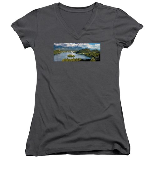 Women's V-Neck T-Shirt (Junior Cut) featuring the photograph Lake Bled Pano by Brian Jannsen