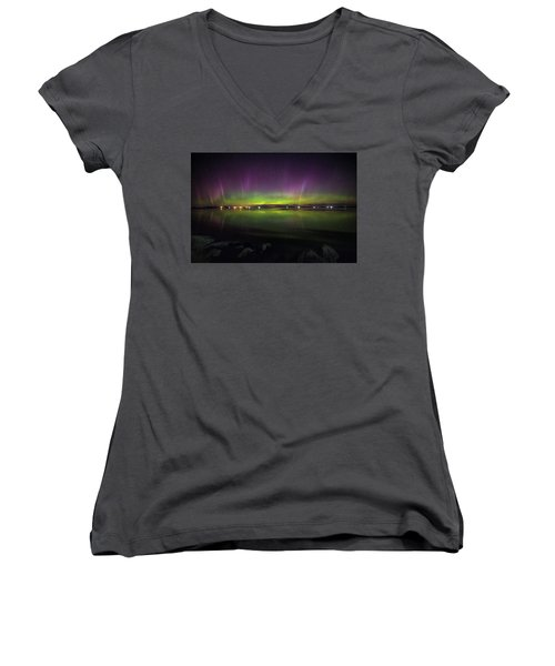 Women's V-Neck T-Shirt featuring the photograph Lake Byron Aurora  by Aaron J Groen
