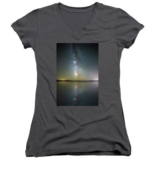 Women's V-Neck T-Shirt featuring the photograph Lake Cavour by Aaron J Groen
