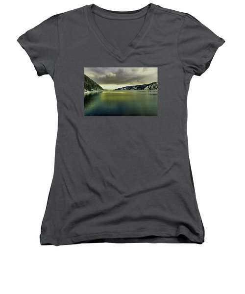 Women's V-Neck T-Shirt (Junior Cut) featuring the photograph Lake Coeur D' Alene by Jeff Swan
