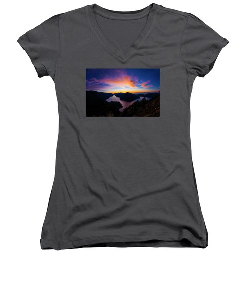 Lake Crescent Sunset Women's V-Neck T-Shirt (Junior Cut) by Pelo Blanco Photo