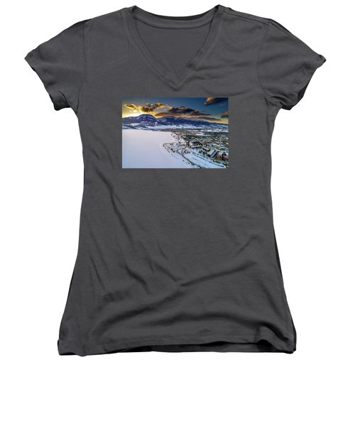 Women's V-Neck T-Shirt featuring the photograph Lake Dillon Sunset by Sebastian Musial
