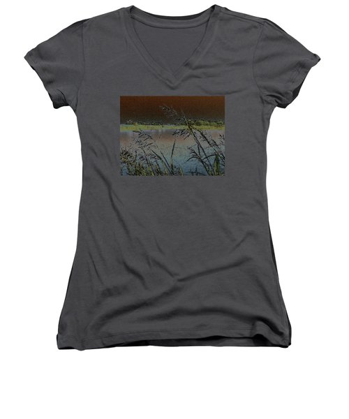 Lake  Women's V-Neck T-Shirt (Junior Cut) by Donna G Smith