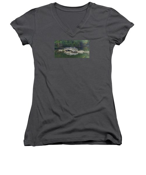 Women's V-Neck T-Shirt (Junior Cut) featuring the photograph Lake Fenwick by Jerry Cahill
