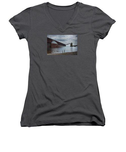 Lake Freighter Women's V-Neck T-Shirt (Junior Cut) by Dan Hefle