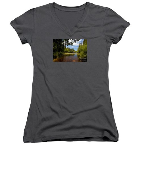Women's V-Neck T-Shirt (Junior Cut) featuring the photograph Lake Fulmor View by Ivete Basso Photography
