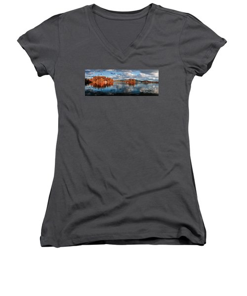 Lake George Panorama  Women's V-Neck (Athletic Fit)