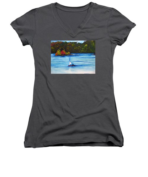 Women's V-Neck T-Shirt (Junior Cut) featuring the painting Lake Glenville  Sold by Lil Taylor
